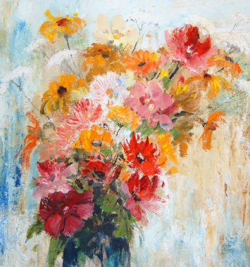 Flowers in a vase, painted illustrations