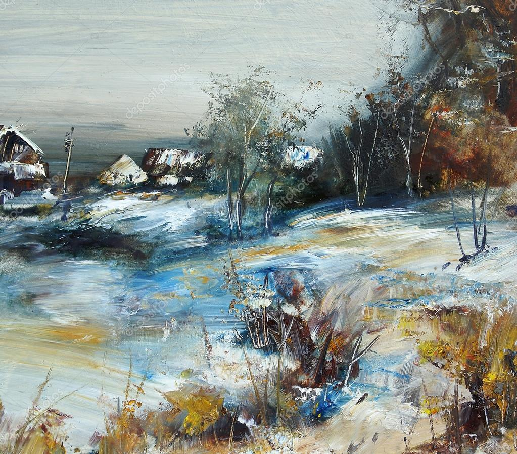 Village in winter, oil painting