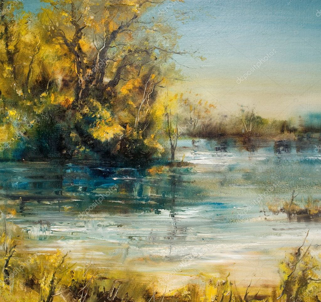Autumn Trees by the lake, oil painting