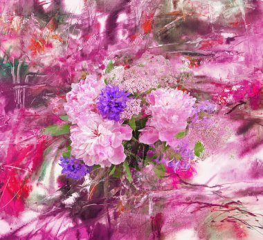 Abstract background and peony
