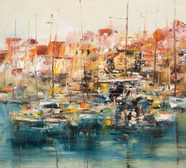 Boats in the harbor, oil painting mixed media