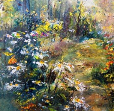 "Картина, постер, плакат, фотообои ""цветы в саду маслом копия картина"", артикул 37904063"