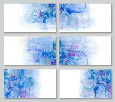 Set artistic background for business cards in blue tones