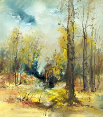 Landscape with forest, oil painting