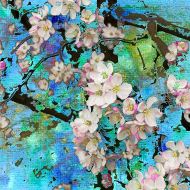 Blossoming apple tree, abstract painting and mixed media art bac