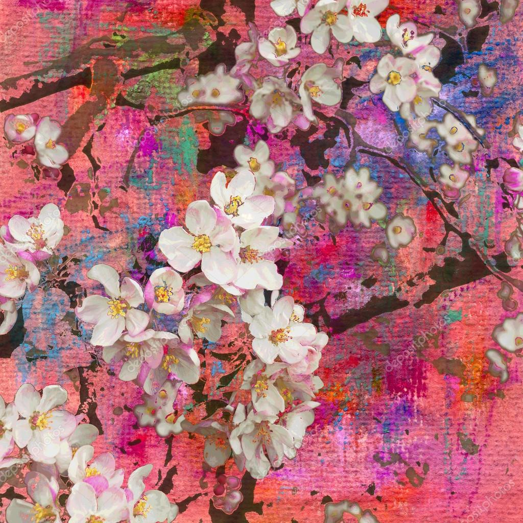 Images Apple Tree Painting Blossoming Apple Tree Painting And Mixed Media Stock Photo C Kvocek 45418085