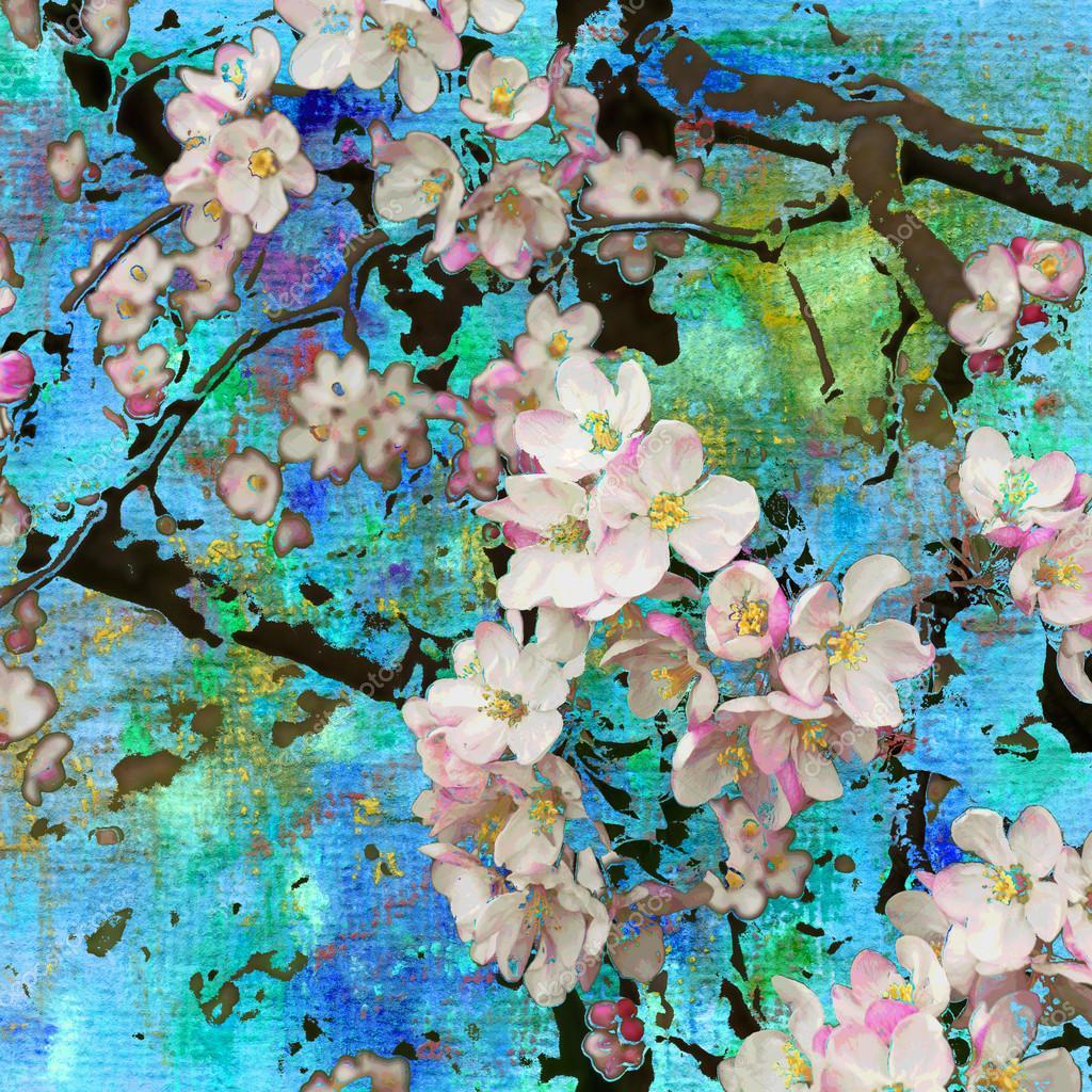 Tree Paintings Abstract Blossoming Apple Tree Abstract Painting And Mixed Media Art Bac Stock Photo C Kvocek 45418315