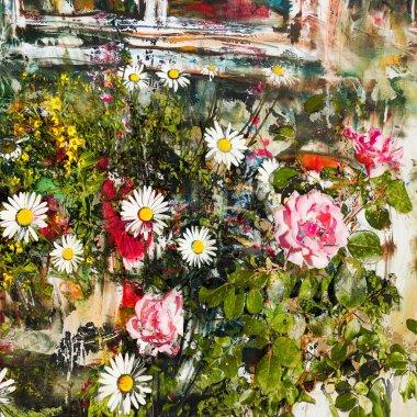 """Картина, постер, плакат, фотообои """"розы и маргаритки под окном, абстрактный фон копия картина пейзаж арт утро маки"""", артикул 49945399"""