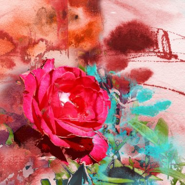 Abstract painting on handmade paper and roses
