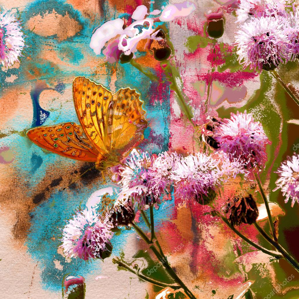 Butterfly on thistle flowers and abstract painting