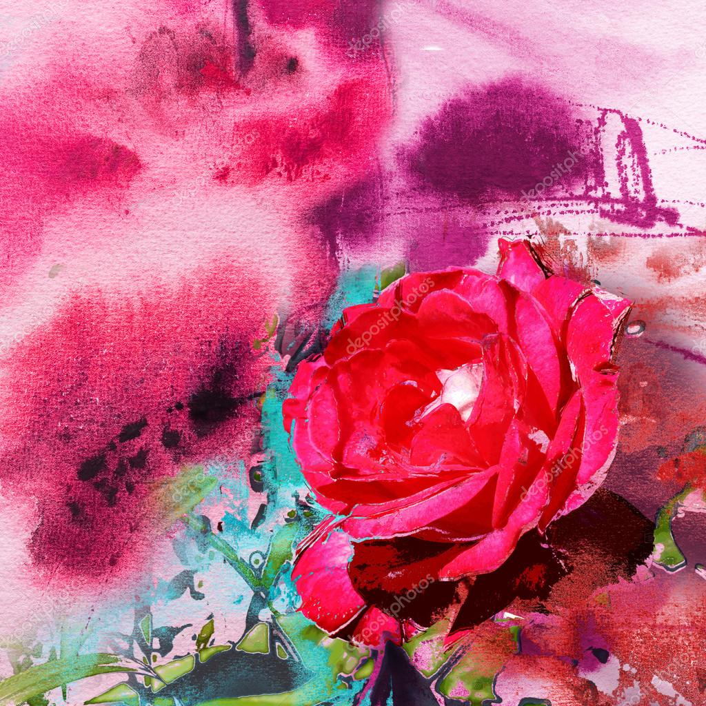 Abstract Painting On Handmade Paper And Flower Stock Photo Image By C Kvocek 51284553