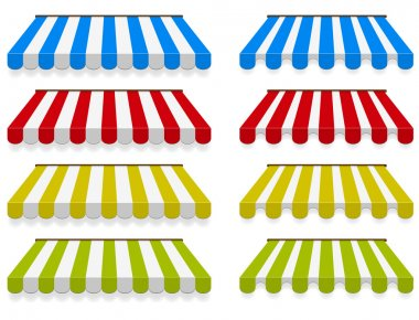 Colored awnings. Vector set.