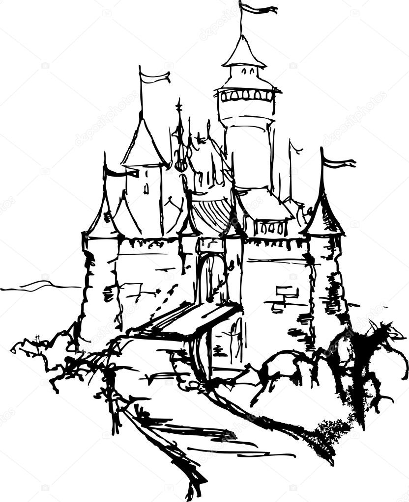 drawing castle stock vector 169 medvedka