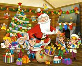 The santa claus - the christmas tree - and the dwarfs