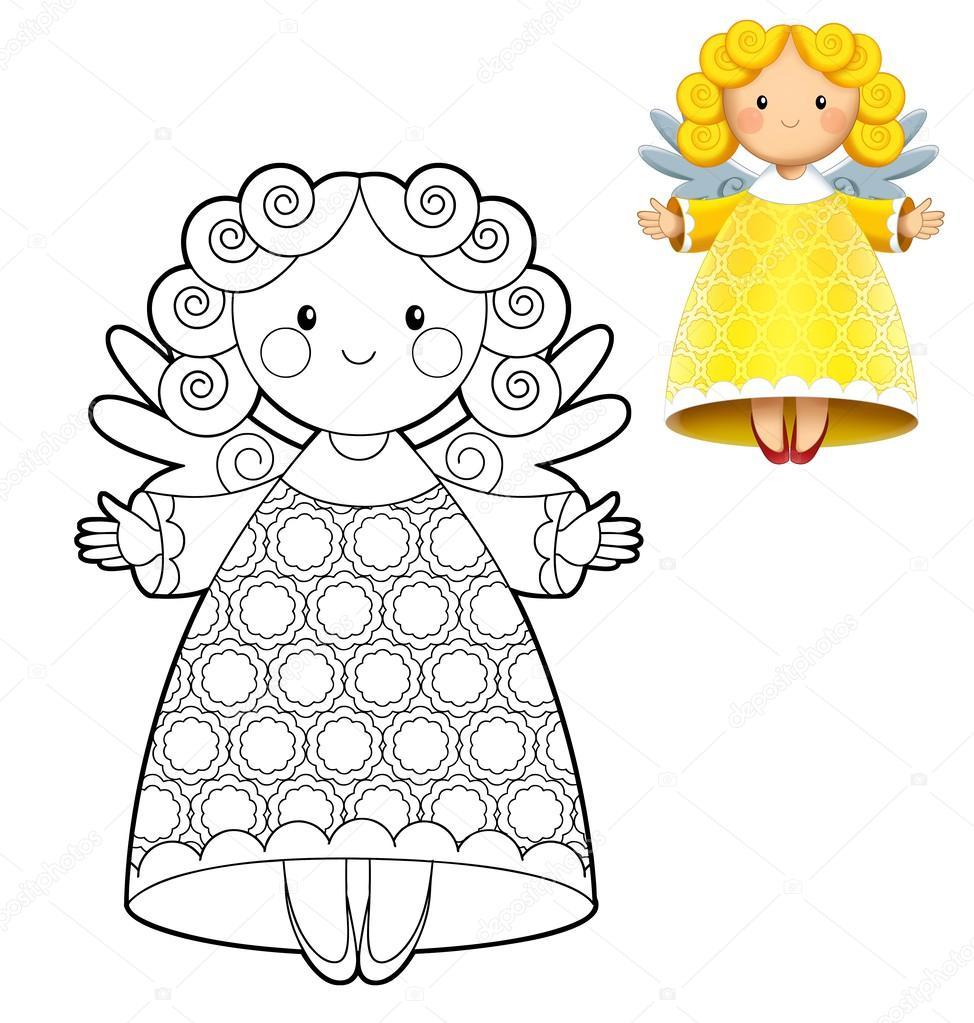 la Navidad - los Ángeles - colorear ilustración — Foto de stock ...