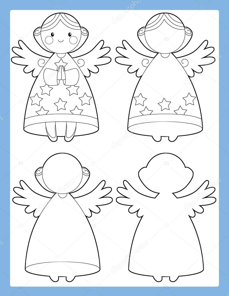 The workbook page with angel - illustration — Stock Photo ...