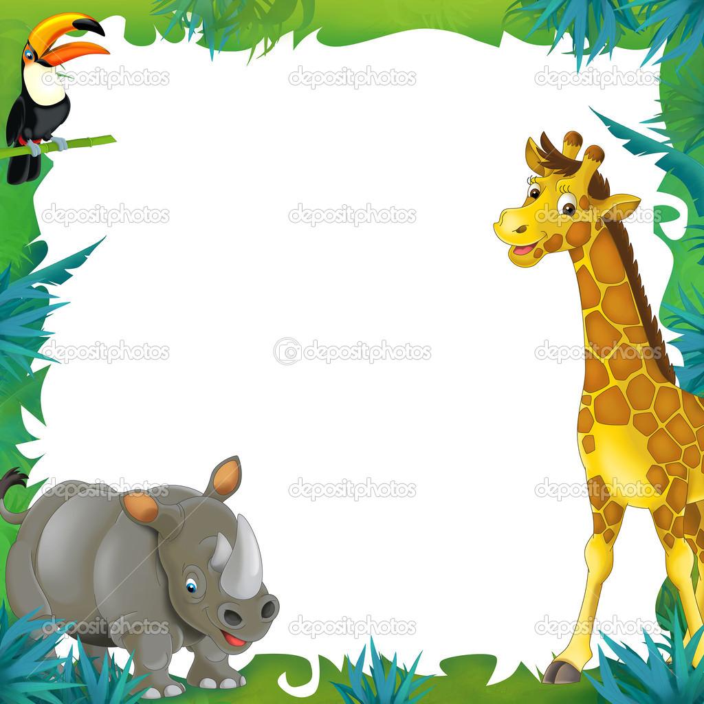 dibujos animados de safari-marco - frontera — Foto de stock ...