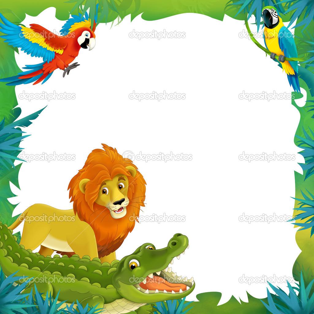 dibujos animados de safari-marco - frontera — Fotos de Stock ...