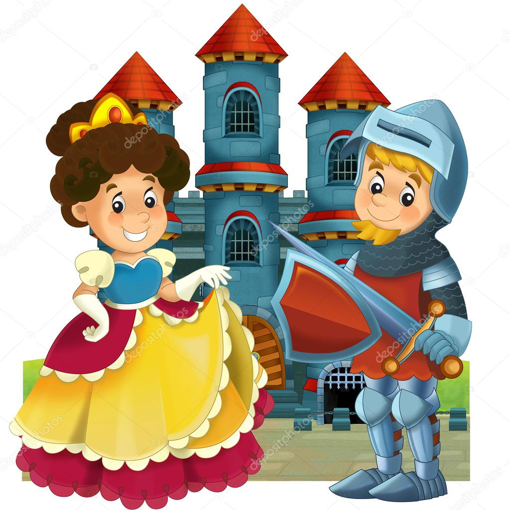 the cartoon medieval illustration princess and knight for
