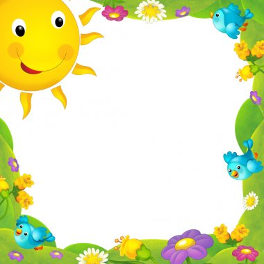 Happy and colorful frame with field and sun for the children. with space for text