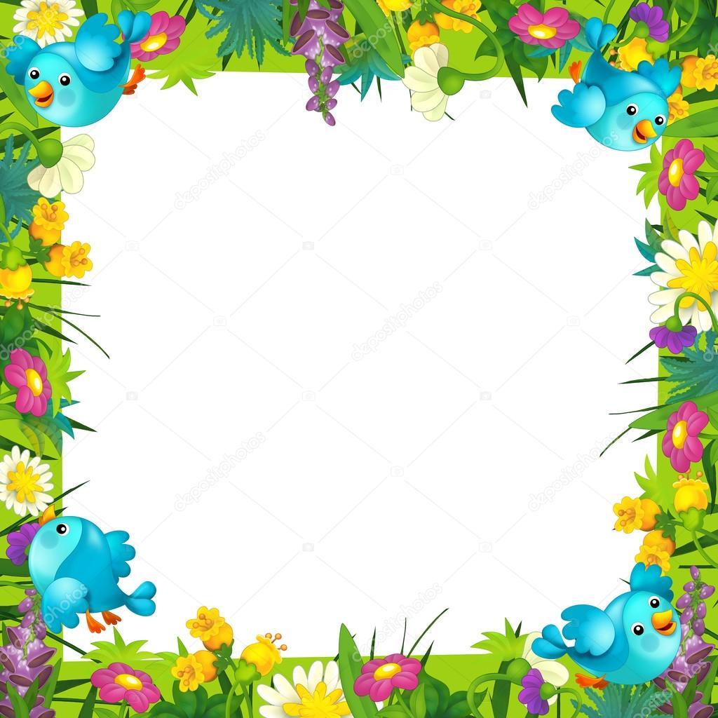 el alegre y colorido marco para los niños con pájaros y flores y ...