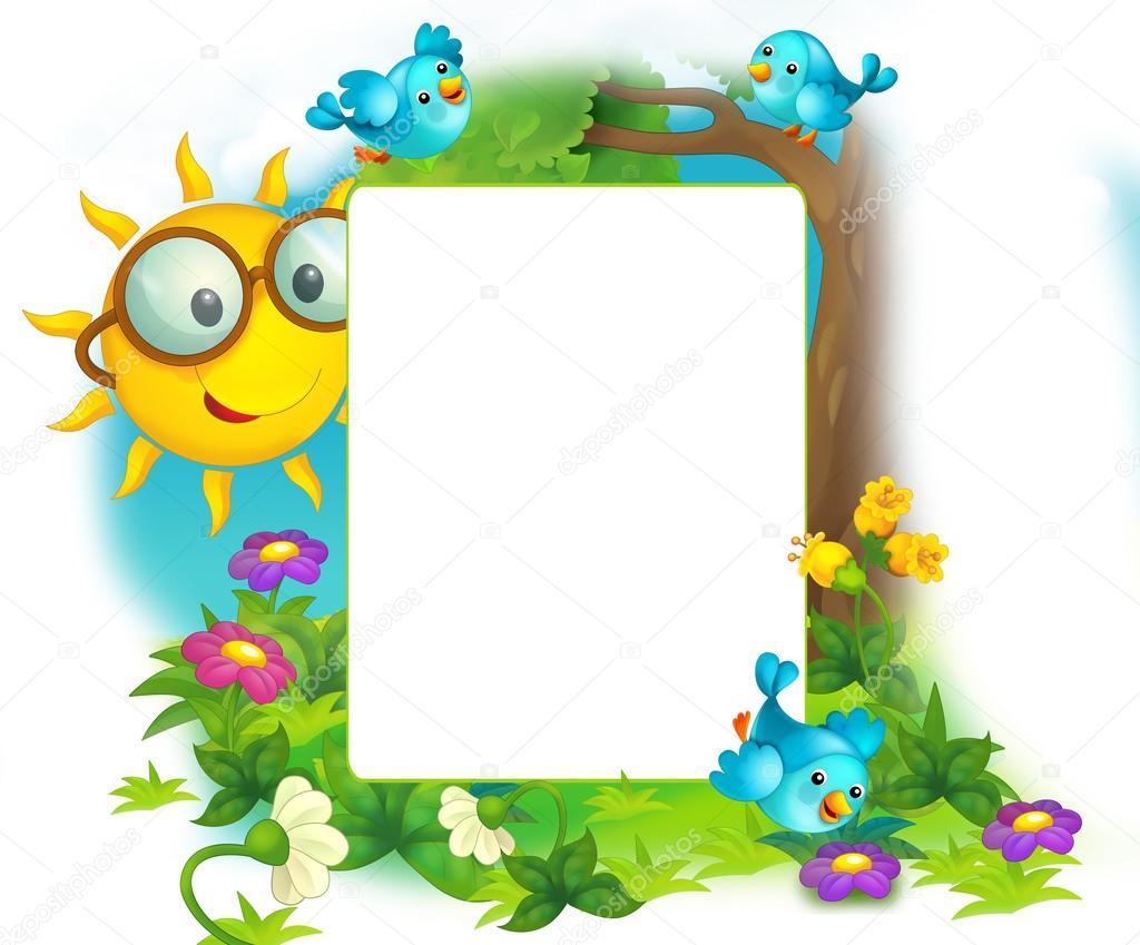 alegre y colorido marco de campo y sol para los niños. con espacio ...