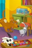 Room with animals. Cartoon