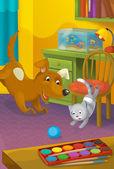 Cartoon room with animals