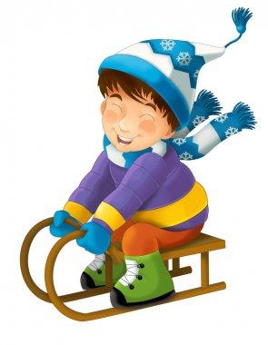 Cartoon child sledding - illustration for the children stock vector