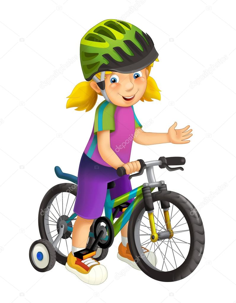 Fille de dessin anim sur une bicyclette photographie - Bicyclette dessin ...