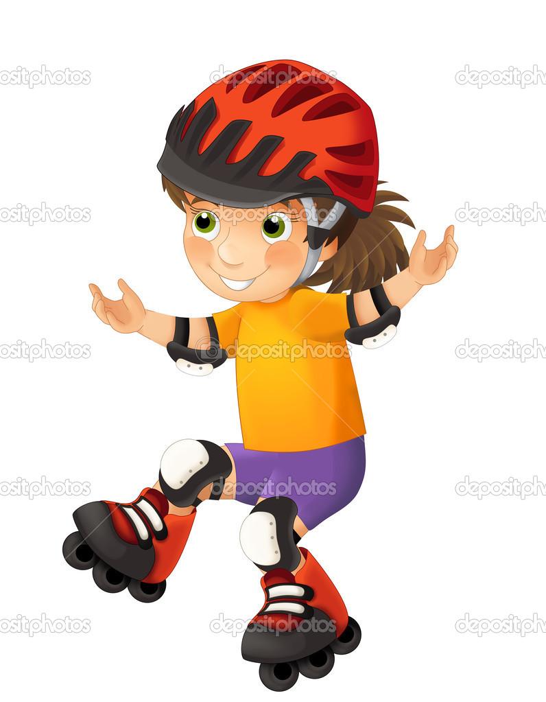 Rollerblades Mädchen Stockfoto Agaes8080 41714395
