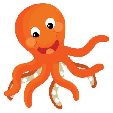 Cartoon sea element - orange octopus - illustration for the children stock vector