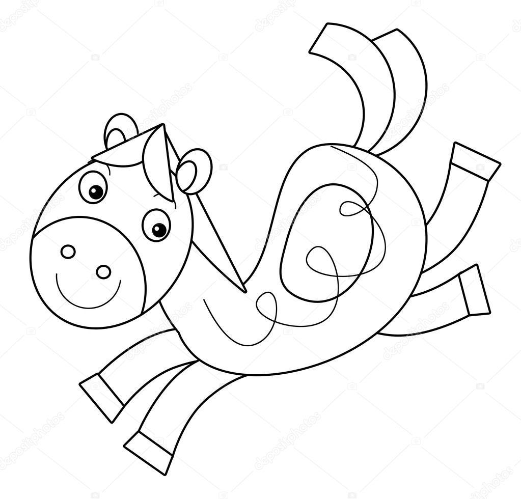 caballo de dibujos animados - Página para colorear — Fotos de Stock ...