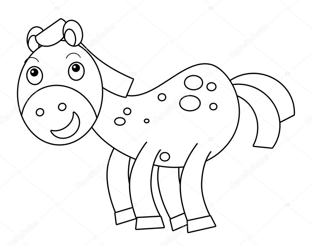 Cartoon horse - coloring page — Stock Photo © agaes8080 ...