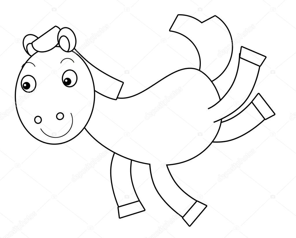 caballo de dibujos animados - Página para colorear — Foto de stock ...