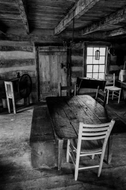 Interior of a historic cabin in Sky Meadows State Park, Virginia