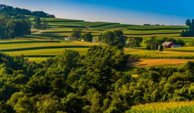 View of rolling hills and farms in Southern York County, Pennsyl