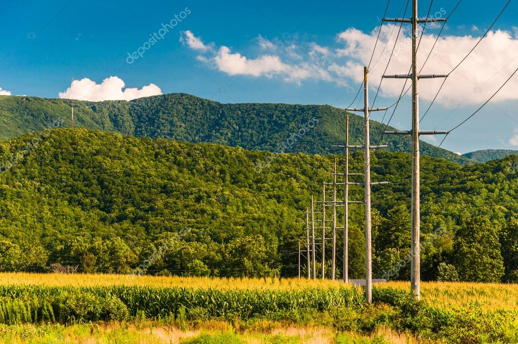 Power lines and view of the Blue Ridge Mountains in the Shenando