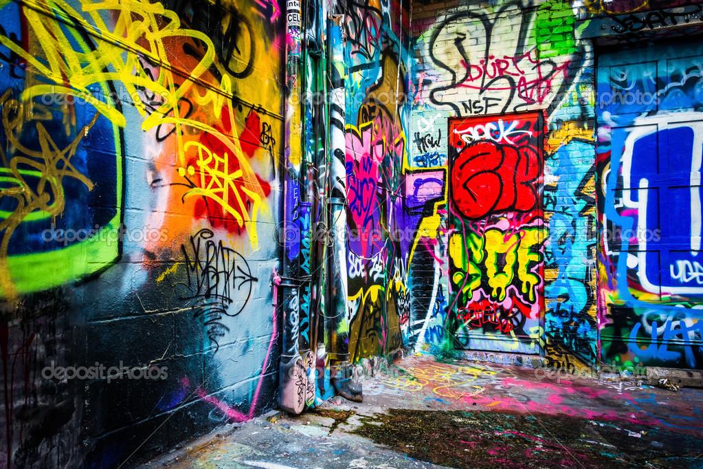 Disegni Colorati Nel Vicolo Graffiti Baltimora Maryland Foto