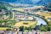 Fotografie River Saar and city of Saarburg, Germany