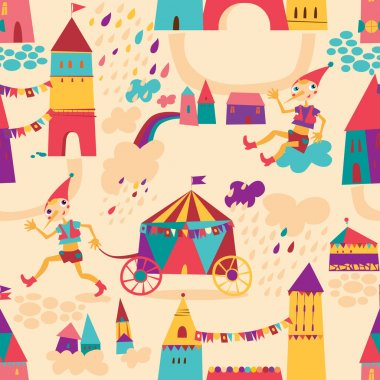 Seamless pattern with colorful houses for children's background.