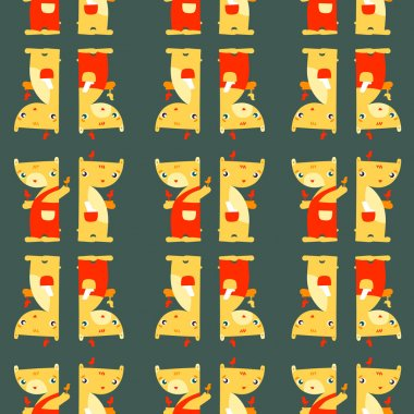 Teddy Bears. Funny bright seamless pattern on dark background. S