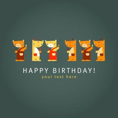 Teddy Bears. Dark background. Happy birthday card. Vector illust