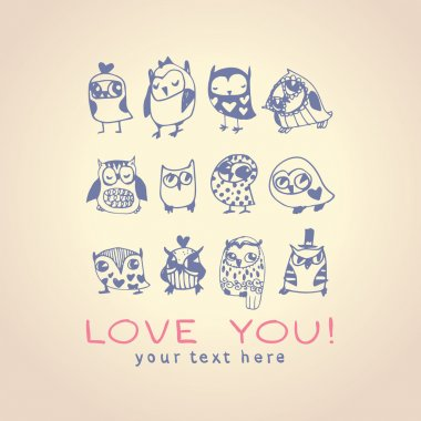 Owls cute greeting card and sample text. Template for design car