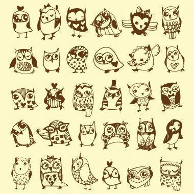 Owl Doodle Collection - hand drawn - vector