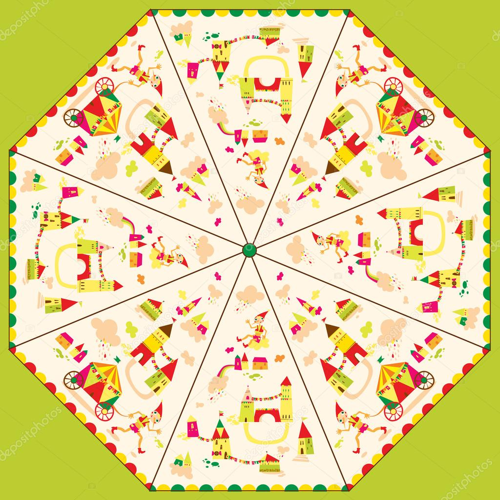 Pattern Template For Childrens Umbrella Stock Vector