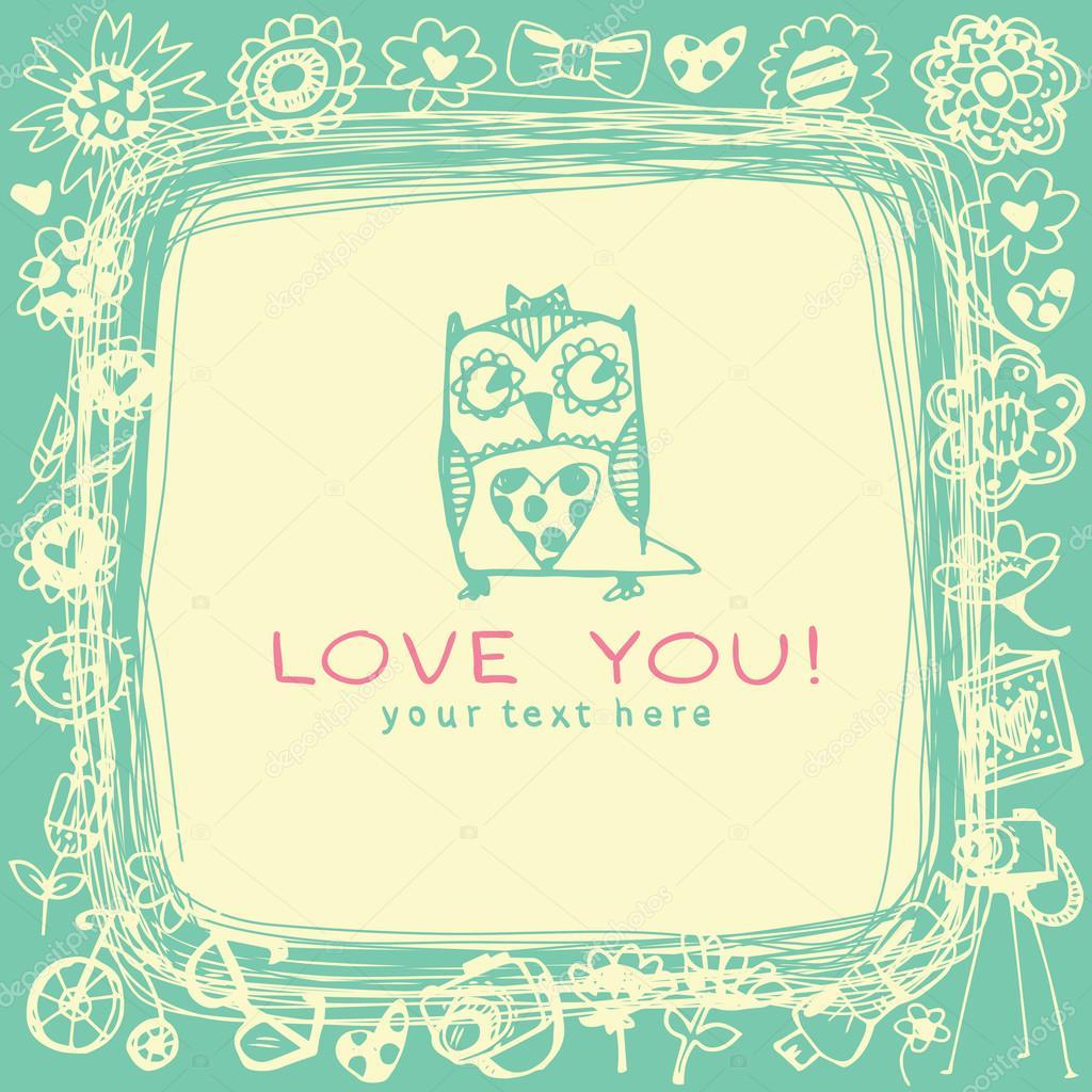 Buhos bonita tarjeta de felicitación y muestra texto. plantilla ...
