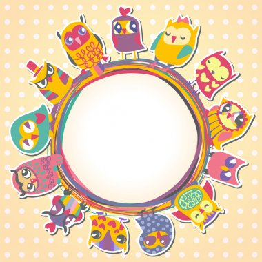 Childrens background with multicolored cartoon owls for cute car