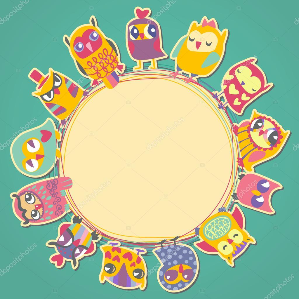los buhos de la historieta tarjeta. marco de círculo. lugar para el ...