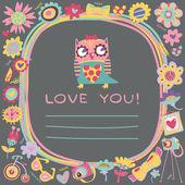 Sovy láska roztomilý pozadí. Šablona pro design karikatura pozdrav